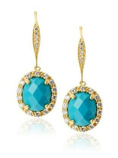Belargo Pave Encrusted Turquoise Oval Drop Earrings