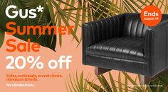 One week left! Don't miss out on our biggest sale of the summer, our Gus* Summer Sale is happening now, and it's time to treat yourself. Check out all of our savings - like the Gus* Modern Wallace Chair. Ottoman Bed, Stitching Leather, Summer Sale, Accent Chairs, Shit Happens, Check, Modern, Upholstered Chairs, Trendy Tree