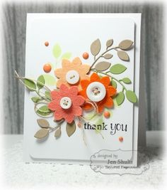 Thank You card by Jen Shults using Taylored Expressions stamps and dies