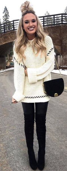 cozy winter outfit | knit sweqater bag skinnies over knee boots