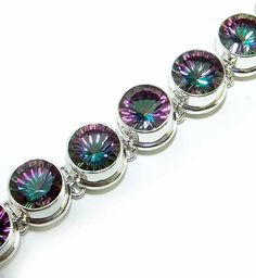 Beautiful item with Mystic Topaz Gemstone(s) set in pure 925 sterling silver. Sterling Silver Bracelets, Silver Jewelry, Mystic Topaz, Fire And Ice, Topaz Gemstone, Natural Gemstones, Bracelet Watch, Pure Products, Accessories