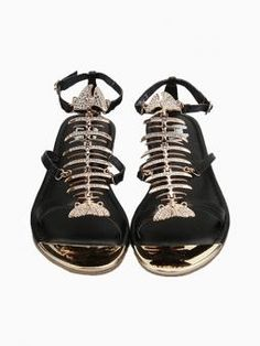 Leather Fishbone Flat Sandals