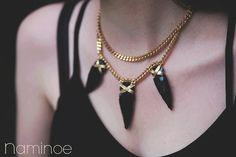 """Double rang necklace obsidian leather and """"The Earth"""""""