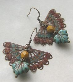 Charming patina'd charm earrings from Lil Ruby at Etsy!