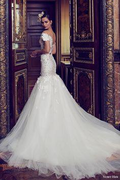nurit hen 2016 bridal off shoulder sweetheart illusion jewel fit flare wedding dress (10) bv romantic medium train