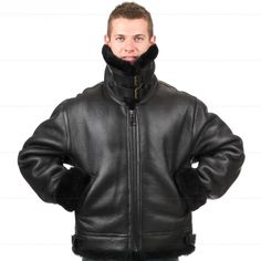 B3 shearling Leather jacket Bomber Fur pilot World II Flying aviation air military US Force The most warm Polar Coat Men Women -*- AliExpress Affiliate's buyable pin. Click the VISIT button for detailed description on www.aliexpress.com #Mensleatherjackets