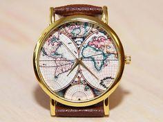 Wristwatch world map antique world map vintage