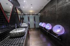 'Adam's' toilets, colour changing urinals