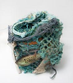 aly de groot - underwater basket weaving: ghost net basket (ghost nets, fishing lures, fishing line, 2010 Textile Fiber Art, Textile Prints, Fibre Art, Weaving Textiles, Weaving Art, Trash Art, Yarn Bombing, Fabric Jewelry, Recycled Crafts