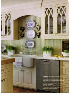 Apron sink, faucet/hardware, green color and bead board Love this English style kitchen with Gothic Mullions and farmhouse sink. Kitchen Redo, Kitchen And Bath, New Kitchen, Kitchen Remodel, Kitchen Dining, Kitchen Ideas, French Kitchen, Kitchen Designs, Dining Area