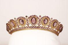 Antique Tiara, Sweden (1805-1832; made by Nils Hedenskog; amethyst, seed pearls, gold or brass