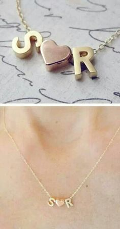Papriika-Design                    Collar con letras y corazón rellenos en plata -Indicar iniciales- $650
