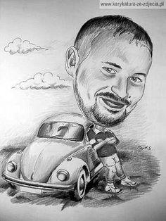 Karykatura ze zdjęcia - pomysł na prezent dla miłośnika samochodów