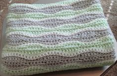 Mint & gray crocheted baby blanket. Such a fun pattern!