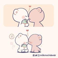 Cute Couple Cartoon, Cute Cartoon Pictures, Cute Love Cartoons, Cute Pictures, Beautiful Pictures, Cute Bear Drawings, Cute Kawaii Drawings, Cartoon Drawings, Gif Mignon