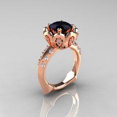 Classic 18K Rose Gold 3.0 Carat Black Diamond Greek Galatea Bridal Wedding Ring AR114-18KRGDBD. $1,899.00, via Etsy.