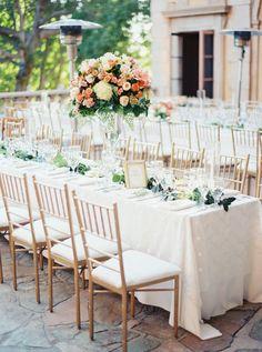 elegant backyard reception, photo by Erich McVey http://ruffledblog.com/sierra-madre-wedding #weddingreception #tablescapes