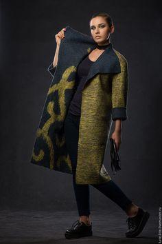 Купить Двустороннее пальто Барокко - тёмно-синий, орнамент, пальто, валяно, войлочное, пальто-халат