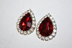 Vintage Earrings Red Rhinestone Chunky 1970s  Jewelry by patwatty, $8.00