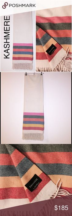 Kashmere Cashmere Wrap ✨ New Listing Kashmere 100% cashmere versatile scarf/throw/blanket in cream with multi colored stripes, edged in fringe. Wear it around your shoulders on a cold night; throw it on your couch as an attractive accent, or travel with it and forever forsake those disgusting airplane blankets 😜. Incredibly soft and warm. Last one left! Kashmere Accessories Scarves & Wraps