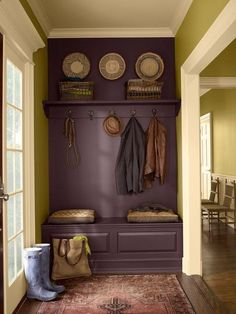 What a cool idea. Paint a bench, wall, and shelf the same color to make it look like a built-in.