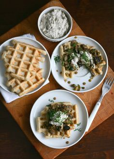 Beer-battered buckwheat waffles topped with mushrooms, lentils and a ...