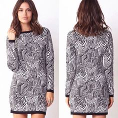 Geometric Sweater Dress Medium NWT Forever 21 dress! Brand new with tags, never worn. Size medium. From the Contemporary line. Psychedelic print. Round neckline. Long sleeves. Contrast ribbed trim. Knit. Medium weight. Black and Ivory/White colors. Very cute :) NWT items will have tag partially cut. Thank you :) Forever 21 Dresses Mini