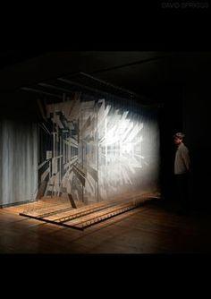 David Spriggs  Holocene  2011  170 x 289 x 335 cm / 67 x 289 x 132 inches  Acrylic on layered transparent film, metal bar, springs, lights
