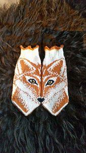Stricken Foxy mittens pattern by JennyPenny, Mittens Pattern, Knitted Gloves, Knitting Socks, Knitting Designs, Knitting Projects, Knitting Patterns, Filet Crochet, Sombreros, Mittens