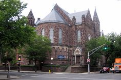 """""""Yale University: Battell Chapel was built in 1876 as a Civil War memorial. An apse was added in 1947 and dedicated to the undergraduate deacons who died in World War II."""""""