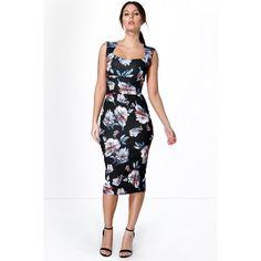 Boohoo Night Karina Floral Print Sweetheart Midi Bodycon Dress ($30) ❤ liked on Polyvore featuring dresses, black, black sequin dress, black slip dress, floral maxi dress, black midi dress and black tuxedo
