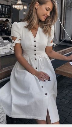 Popular Spring and Summer Outfit Ideas You will Love - - White V Neck Front Button Knot Sleeve Midi Dress Source by theglamourlady Simple Dresses, Elegant Dresses, Cute Dresses, Casual Dresses, Casual Outfits, Cute Outfits, Beautiful Outfits, Midi Dress With Sleeves, Dress Skirt