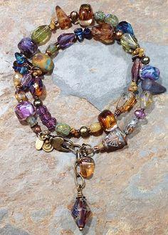 Mixed GlassWear Lilacs Wrap Bracelet (can be worn as necklace): lamp work glass, Czech glass, freshwater pearls, brass findings