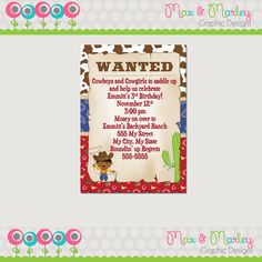 Cowboy or Cowgirl Birthday Party Invitation - Choose Character - Wild West Birthday - Sheriff Birthday Party Invitation - Cowboy Printable