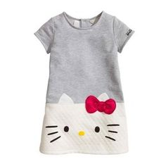 Vestido Infantil Hello Kitty Manga Curta