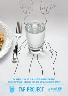 Redesign the tap project poster. Communicate helping children by drinking tap water from a restaurant.  #social good #water