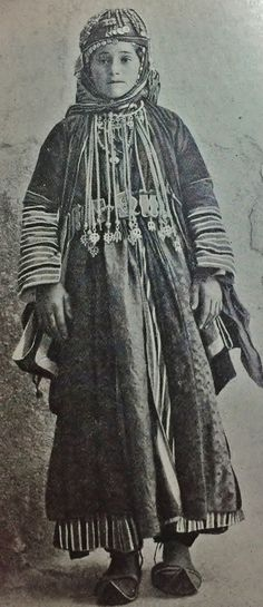 "Young Armenian woman in festive costume. Probably from northern Syria.  Late-Ottoman era, early 20th century.  (Picture from the book: ""People of all Nations"")."