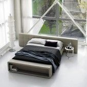 """Contempo """"Giove"""" Leather Bed with Storage"""