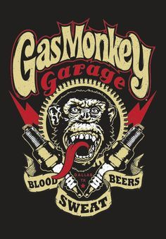 Blood, sweat & beers... all the much needed ingredients to creatively build stuff. 'Gas Monkey Garage' very cool logo and really dig the spark plugs with electric bolts SkullyBloodrider.