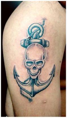 Skull tattoo with anchor by Artist Sandip Uttam