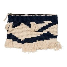 CLUTCH WITH TASSLES BLUE AND WHITE