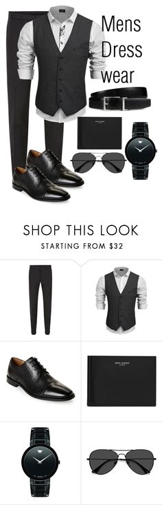 """Mens Dress Wear"" by abatevintage ❤ liked on Polyvore featuring HUGO, Florsheim, Yves Saint Laurent, Movado, EyeBuyDirect.com, Tod's, vintage, men's fashion and menswear"