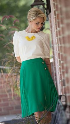 Kelly Green Pleated ButtonSkirt | Modest Dresses and Clothing for Church | Trendy Modest Women's Dresses and Clothes
