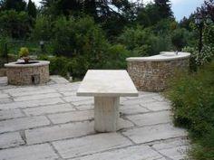 Travertin - Budakalászi mészkő asztal, járólapok, mediterrán kő Travertine, Outdoor Furniture, Outdoor Decor, Hungary, Ottoman, Home Decor, Decoration Home, Room Decor, Interior Decorating
