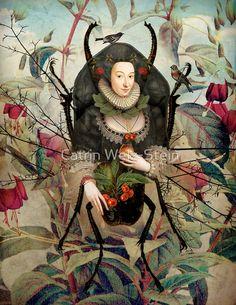 Catrin Welz-Stein: Spider Woman - Lilly is Love Art And Illustration, Fantasy Kunst, Fantasy Art, Photografy Art, Pop Art, Image Halloween, Art Du Collage, Image Nature, Ouvrages D'art