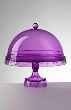 Next time you shops for kitchen goodies, look for coloured cake stands, they add so much to a table, check out this lavender cake stand - lovely! Purple Love, All Things Purple, Purple Glass, Shades Of Purple, Deep Purple, Purple Stuff, Pink, Color Uva, Lavender Cake