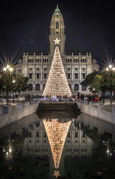 Porto city hall at Christmas time, Portugal Christmas Place, Christmas In The City, Christmas Lights, Christmas Time, Merry Christmas, Xmas, Beautiful Christmas, Christmas Ideas, Portugal Porto