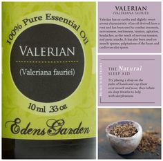 Valerian Root Essential Oil! Can help with sleeplessness and insomnia.  {EDENS GARDEN ESSENTIAL OIL}