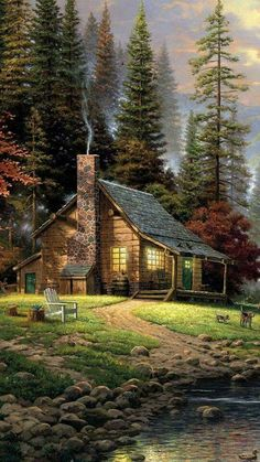 Thomas Kinkade A Peaceful Retreat painting, oil on canvas & frame; Thomas Kinkade A Peaceful Retreat is shipped worldwide, 60 days money back guarantee. Beautiful Paintings, Beautiful Landscapes, Thomas Kinkade Art, Kinkade Paintings, Thomas Kincaid, Beautiful Places, Beautiful Pictures, Beautiful Sky, Art Thomas