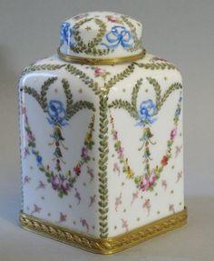 Signed French 18th C. Sevres Tea Caddy w/ Gilt Bronze Mounts c. 1760 Pristine